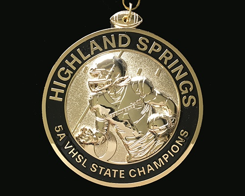Custom Medals, Custom award medals, custom football medals, football medals, football coins, buy awards, sports awards, team awards, championship medals, highland springs football, virginia High School football