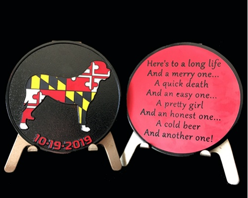 Custom challenge coins, buy challenge coins, challenge coins, maryland coin, lab coin, retriever coin, wedding coin, bachelor party coin, bachelor gifts, wedding party gift, fraternity coins, college frat coins, fundraiser coins